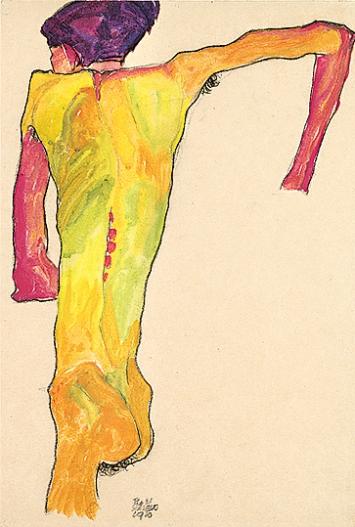 Egon Schiele · Sich aufstützender Rückenakt, 1910, Bleistift, schwarzer Farbstift und Gouache auf Papier, 45x30,7cm, Courtesy Leopold Museum Wien.Foto: Manfred Thumberger