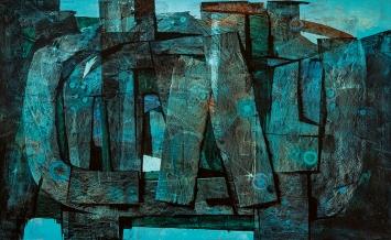 Luigi Pericle · Ohne Titel, ohne Datum, Mischtechnik auf Masonit, 80x130cm, Privatsammlung