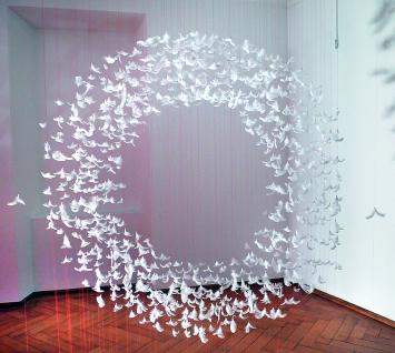 Isa Barbier · Sans titre, 2019, Installation mit Möwen- und Gänsefedern, variable Dimension