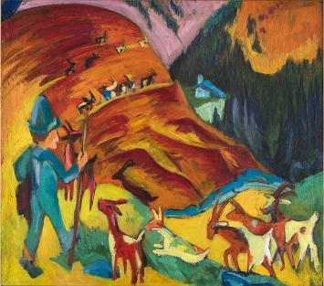 Ernst Ludwig Kirchner · Heimkehrende Ziegenherde, 1920, Öl auf Leinwand, Fond. Gabriele e Anna Braglia, Lugano.Foto: Roberto Pellegrini