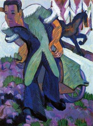 Ernst Ludwig Kirchner · Bauer, einen Schubkarren ziehend, 1926–1932, Öl auf Leinwand, Courtesy Henze& Ketterer, Wichtrach/Bern