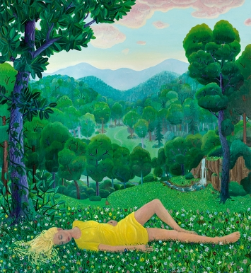 Ben Sledsens · Girl Lying in the Grass, 2019–2020, Öl und Acryl auf Leinwand, 230x210cm, Tim Van Laere Gallery, Antwerpen
