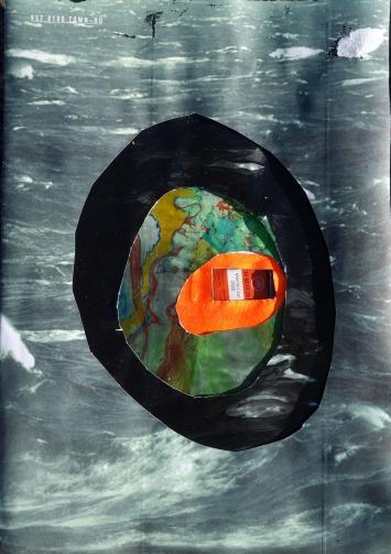 Marlène Pichler, Vermilion 205, 2020, 21 x 29,7 cm, Wasserfarbe und Collage mit Papier und ausgepresster Farbtube