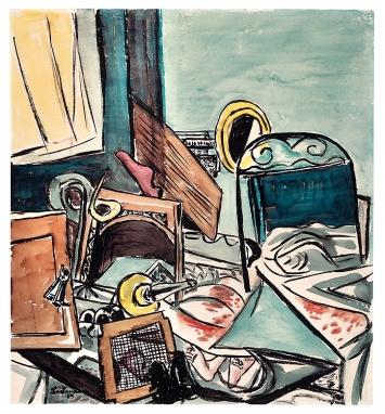 Max Beckmann · Der Mord, 1933, Aquarell und Tusche über Vorzeichnung mit schwarzer Kreide auf Papier ©ProLitteris