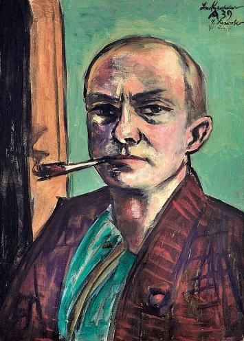 Max Beckmann · Selbstbildnis auf Grün mit grünem Hemd, 1938–1939, Öl auf Leinwand ©ProLitteris, Courtesy Museum der bildenden Künste Leipzig