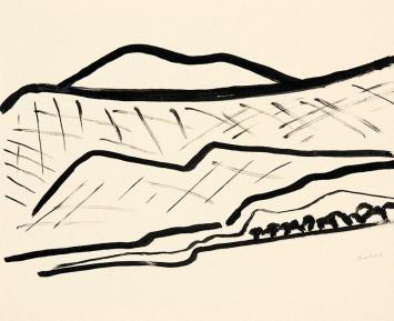 Etel Adnan · Montagne 2, 2015, Tusche auf Papier 38 x 45 cm, Courtesy Galerie Lelong & Co