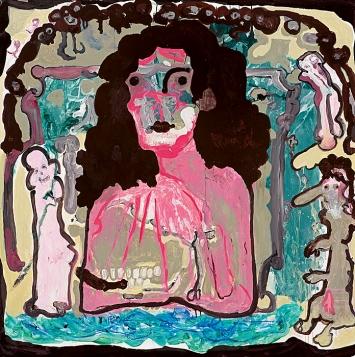 Michaela Eichwald · Heilige Madonna ohne Kind mit Spenderehepaar, 2020, Acryl und Schellacktusche auf Kunstleder, 140,5x140,5cm ©ProLitteris