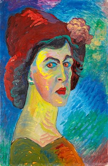 Marianne von Werefkin · Selbstbildnis, 1910, Tempera auf Papier auf Karton, Städtische Galerie im Lenbachhaus und Kunstbau München