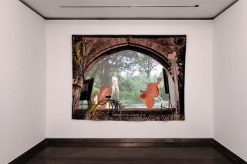 "Laure Prouvost · Looking at you looking at us, 2017, Teppichstickerei, Faden, Video, 7'4"", 188x249cm.Foto: Aurélien Mole"