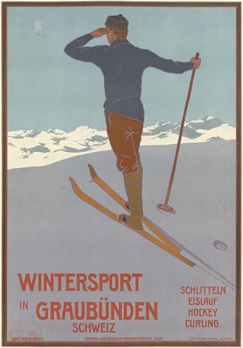 Wintersport in Graubünden, Zürich, 1907, Entwurf: Walther Koch, Farblithografie, 100x70cm, Germanisches Nationalmuseum, Nürnberg