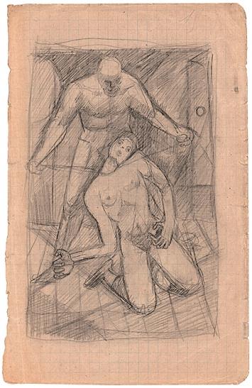 Alberto Giacometti · Homme étranglant une femme, o.D., Crayon sur papier, 19,5x12 cm, ProLitteris, Fondation Giacometti, Paris
