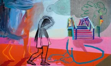 Nina Childress · Bad Cher, pont, 2019, Acryl, Öl und phosphorisierende Farbe auf Leinwand, 97x162cm, Courtesy Galerie Bernard Jordan ©ProLitteris