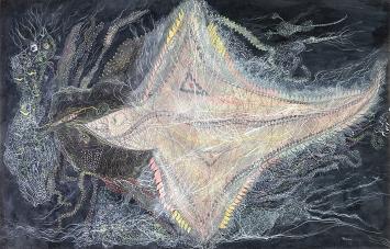 Unica Zürn · O.T., 1957, Pastel und Gouache auf Papier, 33x55,5cm ©Dominique Baliko