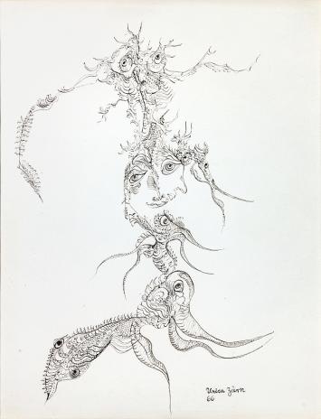 Unica Zürn · O.T., 1966, Chinatusche auf Papier, 31x25cm, Courtesy Dominique Baliko