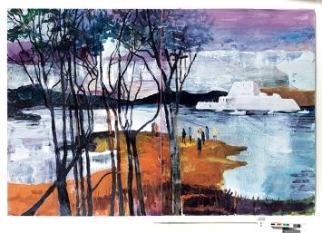 Rachel Lumsden · Titanium, 2017, Öl auf Leinwand, 230x340cm (zweiteilig)