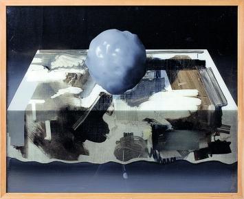 Daniel Karrer · ohne Titel, 2017, Öl, Hinterglasmalerei, 67,5x82,5cm, Courtesy Herrmann Germann