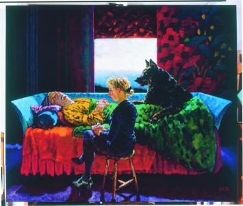 Xenia Hausner · Liebestod, 1996, Acryl auf Hartfaser, 275,5x326,5cm, Sammlung Würth
