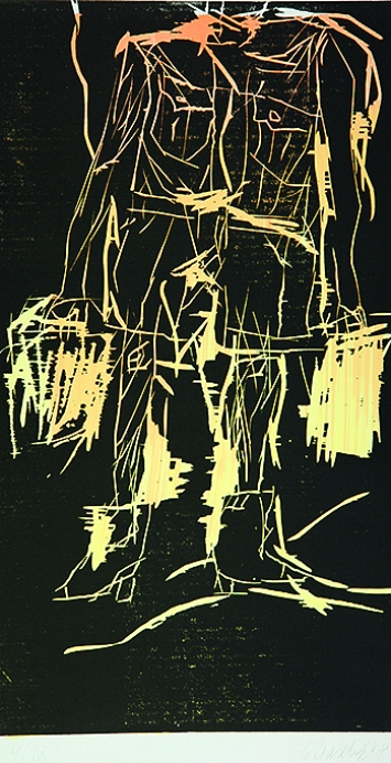 Georg Baselitz · 65 (Remix), Holzschnitt auf Japanpapier, 2008, 89,9x49,2//124x70cm