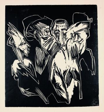 Ernst Ludwig Kirchner · Absalom und seine Ratgeber, Holzschnitt, 1918, 40x37//52,5x42,5cm
