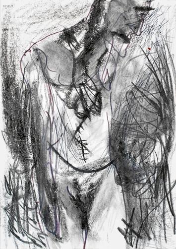 Martin Disler · Ohne Titel, 1984, Bleistift, Kreide und Filzstift