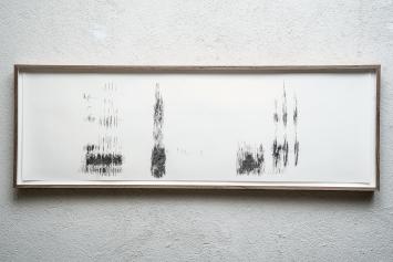 Andrea Wolfensberger · Ausschnitte aus langen plaudernden Subsongs der Elster (Pica pica) mit Zwischenrufen des Partners, 2020,Bleistift auf Papier, 36x108cm (Detail).Foto: Heiner Grieder