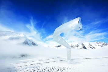 Séverin Guelpa et Kunik de Morsier Architectes · Catabatic Wind Chanel, Matza Aletsch, 2016, Plastikfolie, 80x1200cm