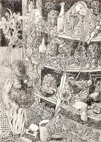 Friedrich Dürrenmatt · Arsenal eines Dramatikers, 1960, Tusche auf Papier, 25,5x18cm, Privatsammlung, Centre Dürrenmatt Neuchâtel/ Schweizerische Eidgenossenschaft