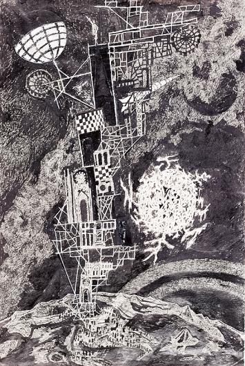 Friedrich Dürrenmatt · Turmbau III: Der amerikanische Turmbau, 1968, Tusche auf Papier, 44,9x30cm, Sammlung Centre Dürrenmatt Neuchâtel, Centre Dürrenmatt Neuchâtel/Schweizerische Eidgenossenschaft
