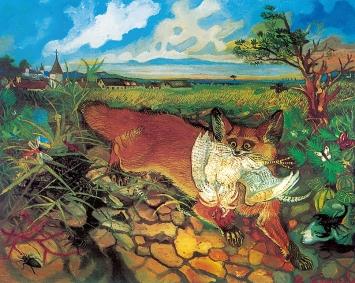 Antonio Ligabue, Fliehender Fuchs, Undatiert (1948), Öl auf Holzfaserplatte, 60x75cm