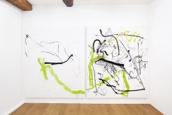 Linda Semadeni · Not titled yet, 2020, Diptychon, Gouache, Tinte, Filzstift auf Leinwand, je 200x170cm.Foto: Björn Allemann