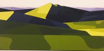 Albrecht Schnider · Aus der Serie von zehn Landschaften, 2019–2021, Öl auf Leinwand, 16,5x33cm.