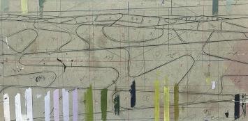 Albrecht Schnider · Entwurf für Landschaft, 2018/2020, Mischtechnik auf Graukarton. 16,5x33cm
