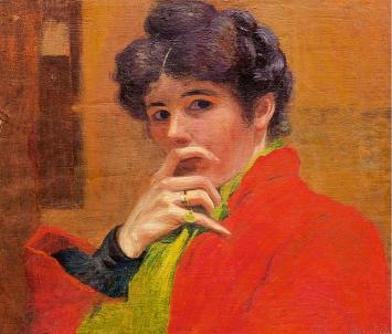 Marguerite Burnat-Provins · Autoportrait, le doigt sur la bouche, 1900, Öl auf Leinwand, 46,5x55cm, Courtesy Musée d'art du Valais.Foto: Michel Martinez