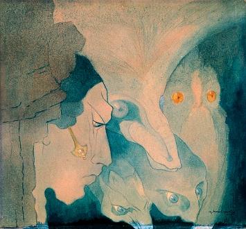 Marguerite Burnat-Provins · Les Êtres de l'abîme, Ma Ville, 1921, Bleistift und Aquarell auf Karton, 42x45,5cm, Courtesy Collection de l'Art Brut, Lausanne.Foto: Claude Bornand