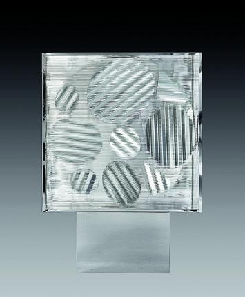 Heinz Mack · Ohne Titel, 1968/2012, Aluminium, Wellenglas, Edelstahl, Holz, Motor, 155x155x25cm, Holzsockel, partiell mit Edelstahl ummantelt: 60x90x40,5cm