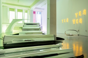 Olivia Wiederkehr · Yes Yes Yes, 2020, Probeaufbau/Atelieransicht.Foto: Sebastian Mayer