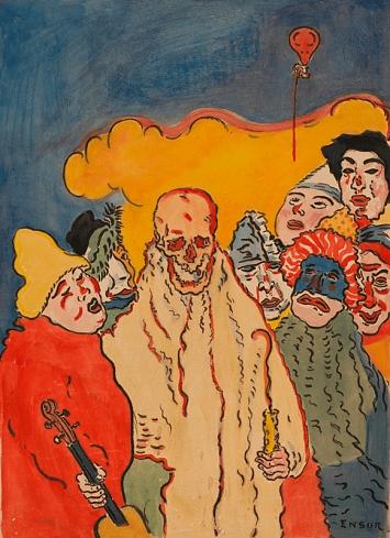 James Ensor · Die Masken und der Tod, 1898, Wasserfarben und Deckfarben auf Papier, Blattmass: 62x47,5cm, Bildmass: 52x38cm, Kunst Museum Winterthur, Stiftung Oskar Reinhart