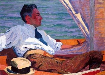 Giovanni Giacometti · Bildnis E. Richard Bühler im Segelboot, 1911, Privatbesitz