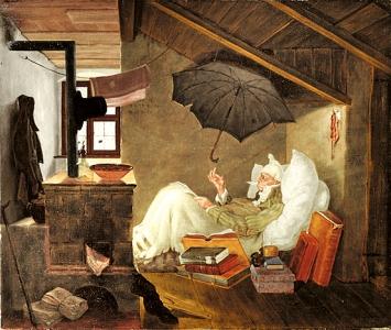 Carl Spitzweg · Der arme Poet, 1838, Öl auf Leinwand, 37,9x45cm, Privatbesitz