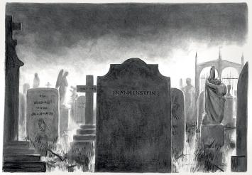 Julia Kuster · Am Familiengrab, Kohlezeichnung 2018