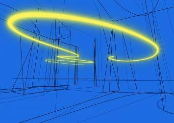 Brigitte Kowanz · Tipping Point, 2018, Zeichnung auf Aluminium, 42x59x3cm, Courtesy Häusler Contemporary München/Zürich