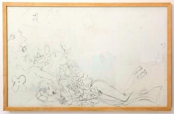 Ellen Cantor · Sleeping Beauty, 1996, Bleistift auf Holz, 132x224cm