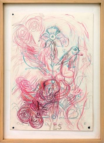 Ellen Cantor · Untitled, 2007, Bleistift, Farbstift und Collage auf Papier, 50x37cm