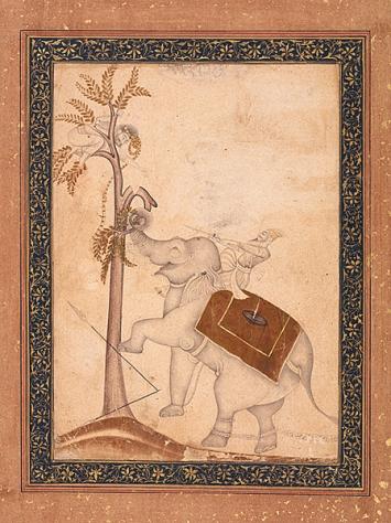 Die Attacke eines Elefanten, 1650–1700, 26x19,6cm, RVI 1064, Legat Alice Boner, Museum Rietberg
