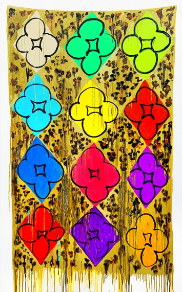 Judy Ledgerwood · Cheetah, 2017, Öl auf Leinwand, 198,1x121,9x5,1cm.Foto: Tom Van Eynde
