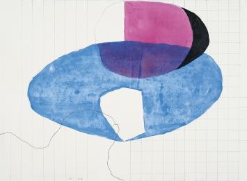 Jürgen Partenheimer · The Earth's Eye, 2019, Bleistift, Tusche, Aquarell, 50x68cm ©ProLitteris