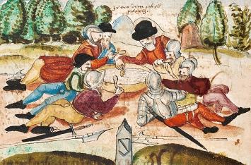 Heinrich Bullinger · Reformationschronik, Abschrift von 1606, Kappeler Milchsuppe– Friedensmahl am Ende des Ersten Kappelerkriegs