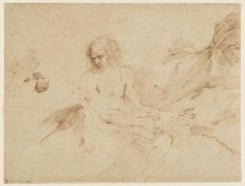 Giovanni Francesco Barbieri, gen. Guercino, · Der heilige Paulus von einem Raben gespeist, um 1650–1655, Feder in Braun auf hellbeigem Papier, 27,6x36,3cm, Kunsthaus Zürich