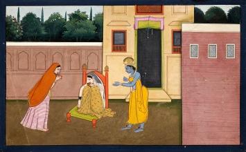 Noch schmollt Radha, will nicht auf ihre Freundin hören und weist Krishna zurück. Folio aus der zweiten Guler Gitagovinda-Serie von ca. 1775, Legat Lucy Rudolph, Museum Rietberg