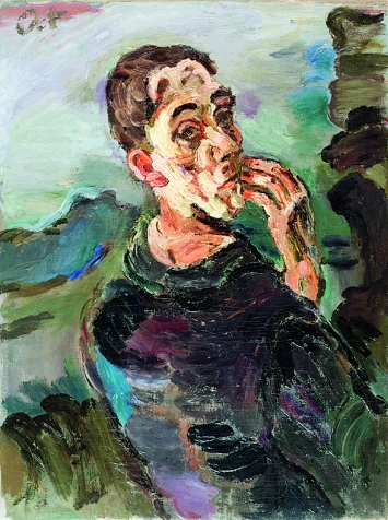 Oskar Kokoschka · Selbstbildnis, eine Hand ans Gesicht gelegt, 1918/19, Öl auf Leinwand, 83,6x62,7cm ©ProLitteris